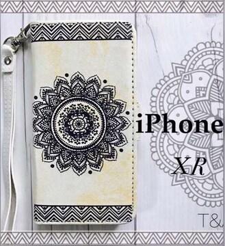 iPhoneXR 手帳型ケース エンボス型押し フィルム  ホワイト