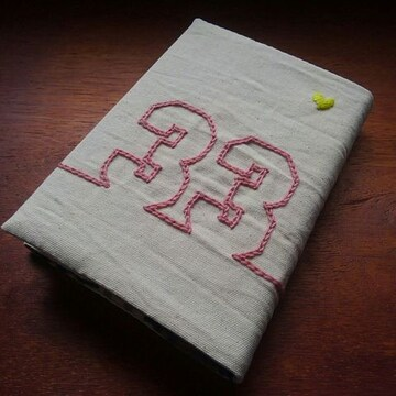 ハードカバー用ブックカバー 背番号33 (手作り・手縫い)
