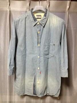 アナクロノーム ユーズド加工 七分袖シャツ Sサイズ00 青 デニムインディゴ RRL 長袖