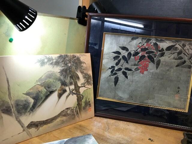 美しい日本画を五枚。一枚は額入り。 < インテリア/ライフの