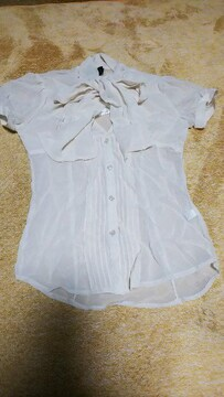 デュラスアンビエント 半袖シャツ 新品 ブラウス 襟元リボン