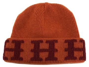 新品同様正規エルメスニットキャップニット帽オレンジカシミ