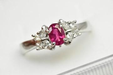 Pt900 ルビー 0.50ct ダイヤモンドリング 12号 指輪